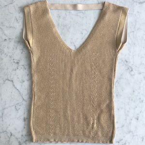 Armani Exchange gold knit top